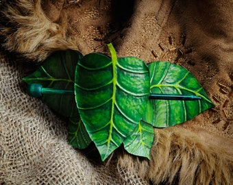 GREEN LEAF leather hairpin for long hair clip nature forest hairclip elven elf costume hairstyle larp woods green leaves legolas tauriel pin