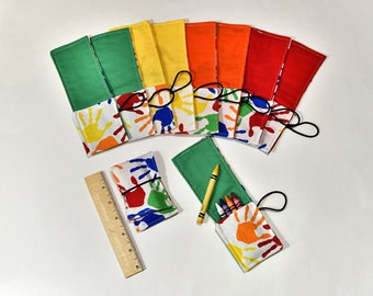 Kids Birthday Party Favors Kids Party Supplies Crayon Roll Up Crayon Wrap, Colorful Hands, Crayon Holders with Cover, Crayons Not Included
