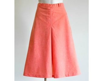 1970s coral a-line midi skirt