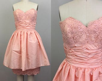 Vintage 80s VICTOR COSTA Peach Strapless Lace Party Dress S