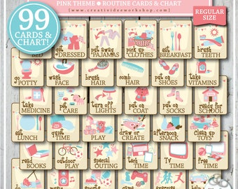ROUTINE CARD BUNDLE | 99 Printable Routine Cards and Chart | Morning, Afternoon, Bedtime, Before School, After School, Extras | Pink | Girl