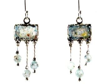 Sterling Silver earrings, Hippie earrings ,  Israeli roman glass jewelryisraelische schmuck