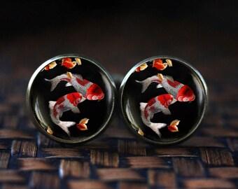 Japanese Koi Fish cufflinks, Koi Fish art cufflinks, Japanese art cufflinks, Asian Art cufflinks, Fish Water cufflinks