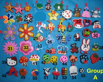 Animals, Fishes, Flowers, Balls Individual Single Cartoons Shoe Charms for Jibbitz bracelets or Crocs shoes