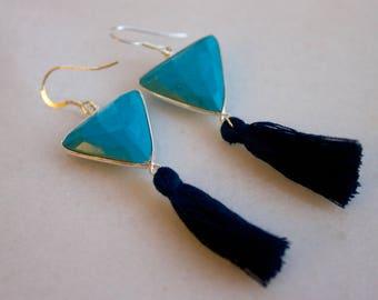 Turquoise Triangle Tassel Sterling Silver Earrings