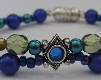 Happy shades of blue bracelet, one of a kind, calming beads.
