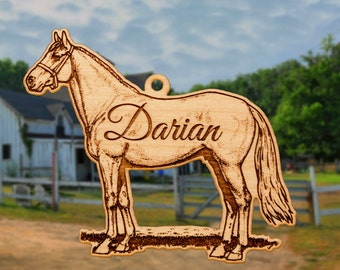 Personalized Wooden Horse Christmas Ornament