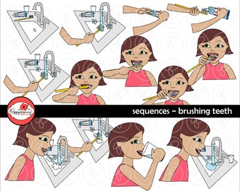 Sequences - Brushing Teeth Clipart Set (300 dpi) School Teacher Clip Art Daily Routines SPED ESL PreK Kindergarten Early Childhood