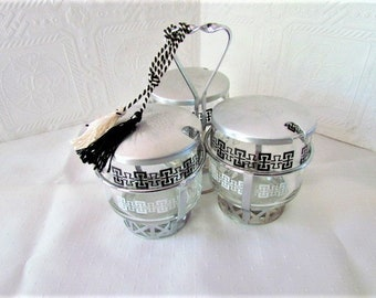 VINTAGE MID CENTURY Trio Condiment Set with Serving Caddy  1950s Mint Condition