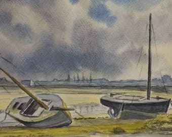 """Watercolor Navy Beach and boats """"Souvenir of a late afternoon in the White Island"""""""
