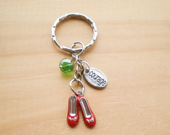 Keychain, Ruby Red Slippers Keychain, Courage Keychain, Accessories