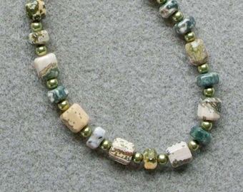 Oceanside necklace with ocean jasper, Swarovski pearls and sterling silver