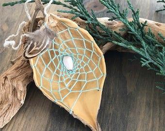 Mint Green dream catcher , milkweed seed pod