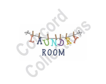 Laundry Room Clothesline - Machine Embroidery Design