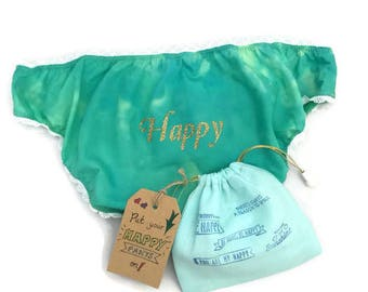 Happy Pants! Ladies cotton knickers, positive panties, motivational slogan underwear, cotton underwear, gift for her, uplifting gift