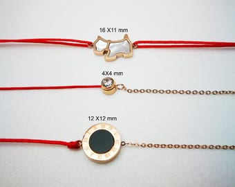 Red cord bracelet with dog / double-sided round disc / cz in titanium with 2.5cm extension chain hypoallergenic sensitive skin