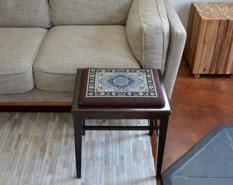 Vintage Wood Stool Bench With Hand Embroidered Seat   Foot Stool Or Extra  Seating Bench  