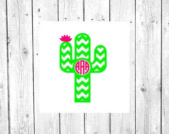 Cactus Decal, Cactus Monogram, Cactus, Vinyl Decal, Yeti Decal, Car Decal, Gifts for her, Phone Decal, Laptop Decal, Yeti Cup