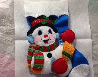 Personalized Snowman Stuffed Felt Stocking