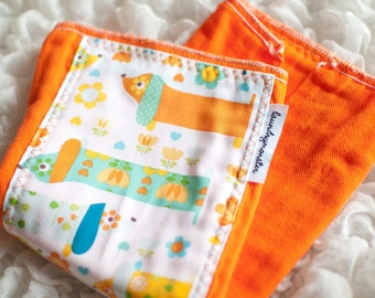 Baby burp cloth - Hot dogs summer orange hand dyed burp cloth