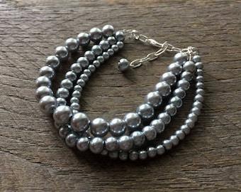 Grey Pearl Bracelet Multi Strand Bridal Bracelet on Silver or Gold Chain