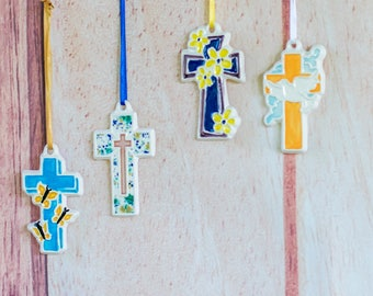 Colorful Crosses - Set of 4 Ornaments