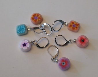 Polymer clay Millefiori  Bead Stitch Markers for Knit Crochet - Mixed Set