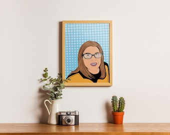 Custom portrait from photo illustrated pop art portrait of girlfriend, couple or pets with accurate likeness