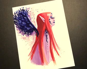 Elf wtih blue wings and RED hair