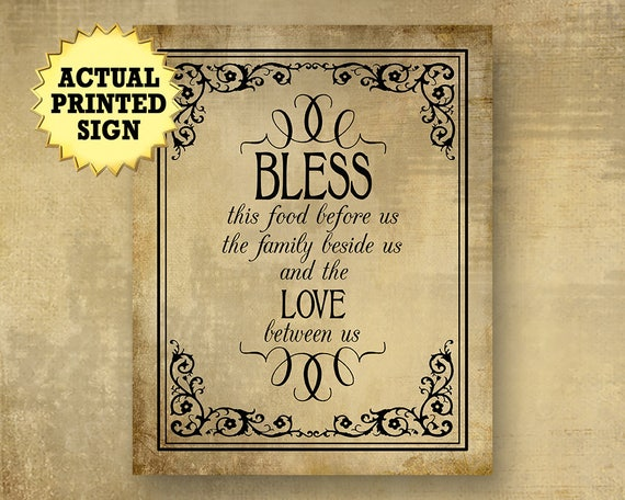 Bless this food prayer sign, meal blessing sign, buffet blessing, dining room art, vintage wedding sign, Easter buffet sign, Easter dinner