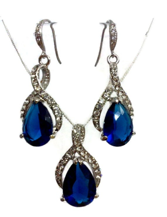 Something Blue Bridal Jewelry Set Sapphire Bridal Necklace