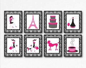 Paris Wall Art, Baby Girl Nursery Art, Hot Pink Wall Decor In Paris Theme