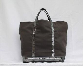 Tote bag, handbag, grey with pearls, 100% cotton, accessories women AandMmilady