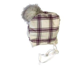 Paige - Plum Plaid Bonnet / Trapper Hat
