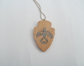 thunderbird necklace wood  arrowhead  scroll saw