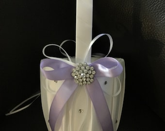 FLOWER GIRL BASKET White/Lavender