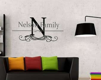Family Name with large Initial and strike through line wall vinyl art