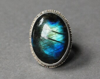 Large Labradorite Oval Sterling Silver Statement Ring, Size 6, Rustic Modern Design