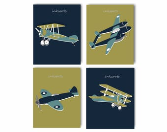 Vintage Airplane Nursery Art World War I Airplane World War II Airplane Art Airplane Nursery Bedding Decor Plane Prints Choose Colors AP1914