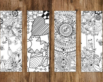 Bookmark set, 4 bookmarks for colouring, bookmarks coloring