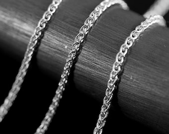 By The Inch Wheat Argentium Sterling Silver Chain 1.7 mm UNFINISHED NO CLASP