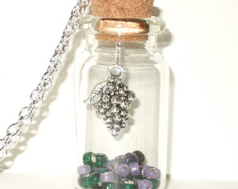 Bottle Necklace, Grapes in a Bottle Necklace, Purple and Green, Wine Lover Necklace, Bottle Pendant, Grapes Necklace, Fruit in a Bottle