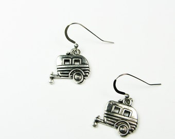 Camping Earrings - Wanderlust Jewelry With Camper Trailer - Fun Travel Road Trip  Vacation Jewelry for Outdoorsy Gift