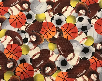 Sports Balls Cotton Fabric! Baseball, Golf, Football, Basketball, Lacrosse, Volleyball, Skateboards [Choose Your Cut Size]