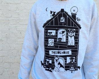 The Dog House Sweater, Dogs Jumper, Pug Sweatshirt, Dog Lady Jumper, Unisex Sweater, Grey Sweater Black Dogs, Funny Screenprinted Sweater