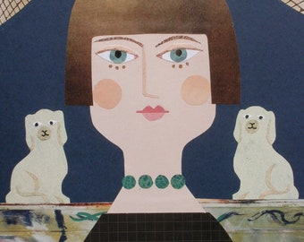 Carrington Greeting Card, Bloomsbury Woman, Naive Art, Collage, Portrait of the Artist, Bloomsbury Group, Amanda White Design, China Dogs