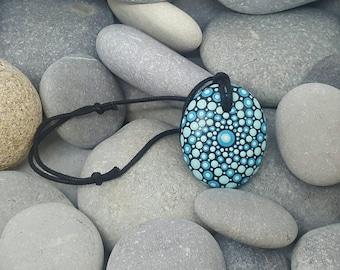 Turquoise Mandala Stone Necklace - Paint Rock - Mandala Rock - Dot Art - Mandala Art - Hand-painted Necklace - Chakra - Healing