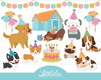 Dog party - party clipart - dog clipart - 17034
