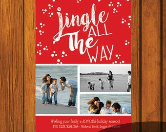 Christmas Card / Photo Christmas Card / Custom Photo Christmas Card / Holiday Card / Photo Greeting Card / Jingle all the way / 5x7