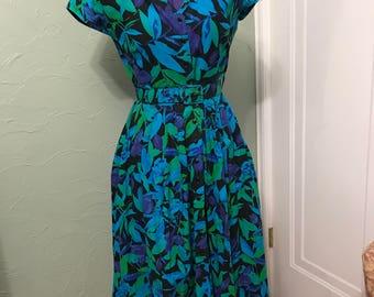 Vintage Floral Tea Length Dress